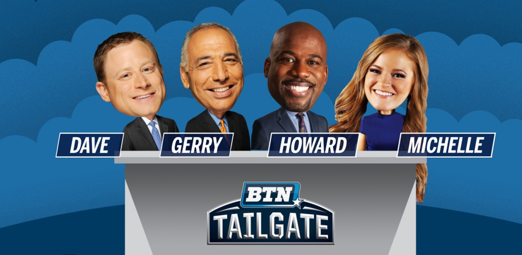 graphic includes images of the four hosts of BTN Tailgate show