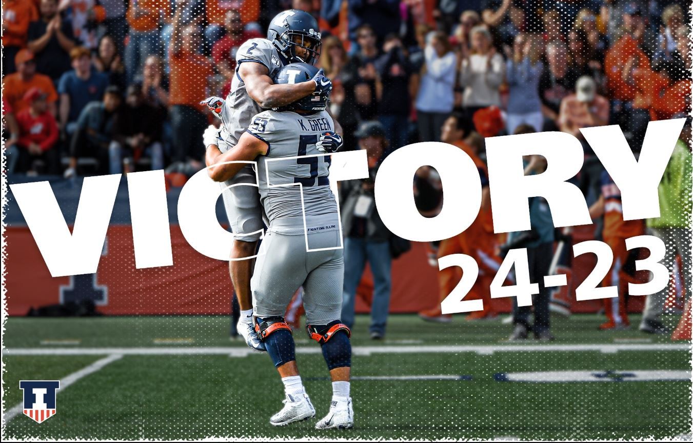 two players celebrating. Text: Victory, 24 - 23