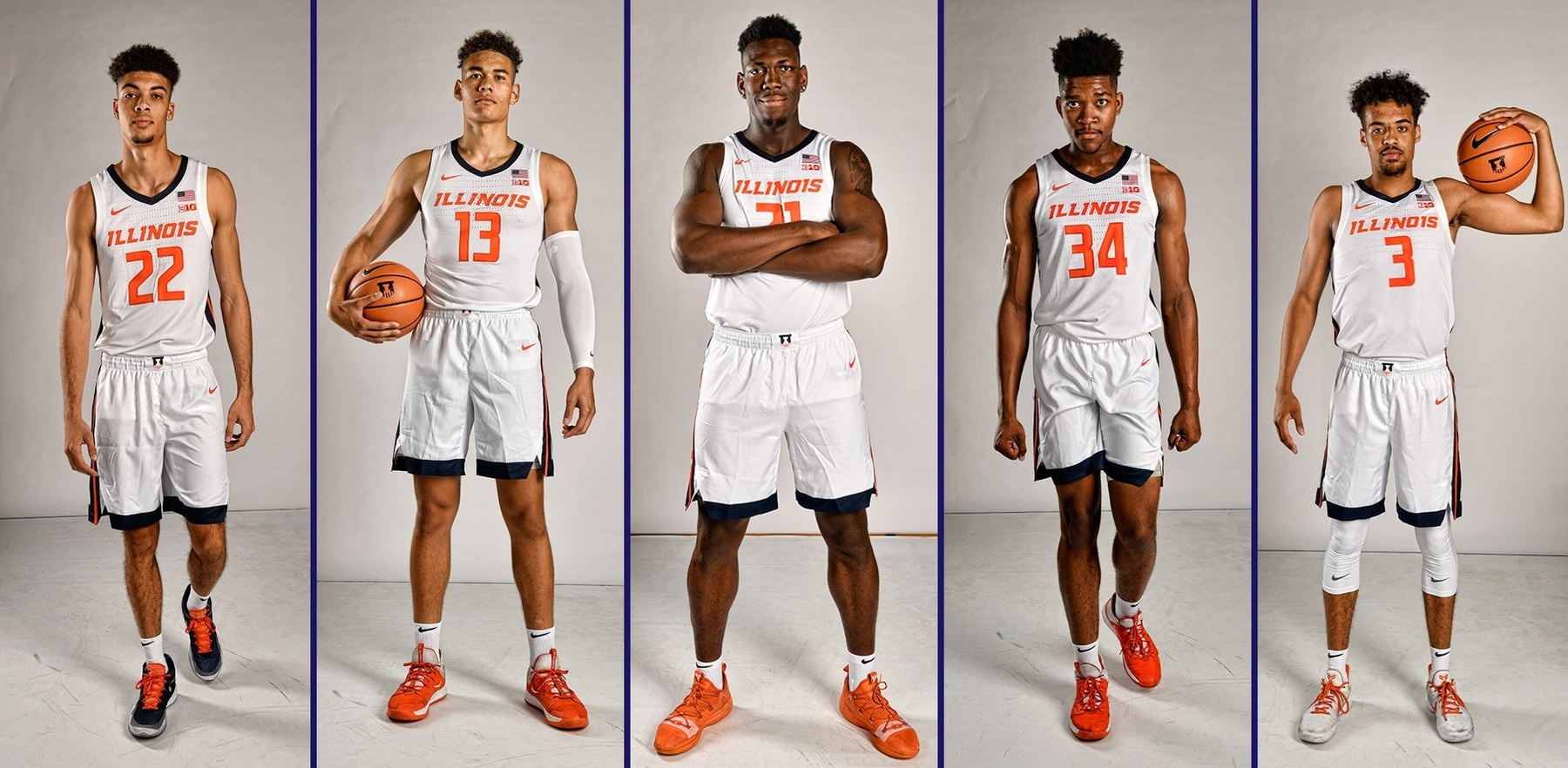 the five new players in Illini uniforms
