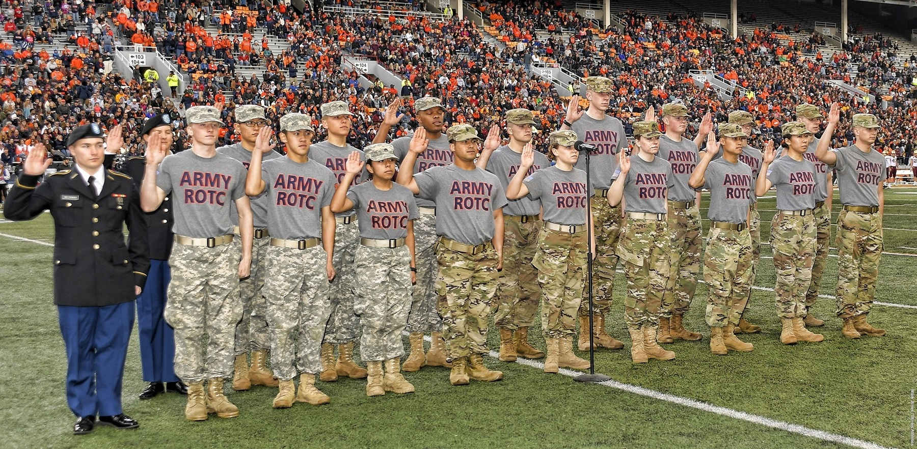on-field swearing-in ceremony for ROTC cadets