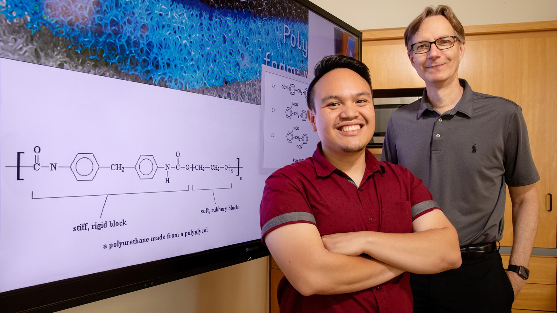 Professor Steven Zimmerman with Graduate student Ephraim Morado. Photo by L. Stauffer