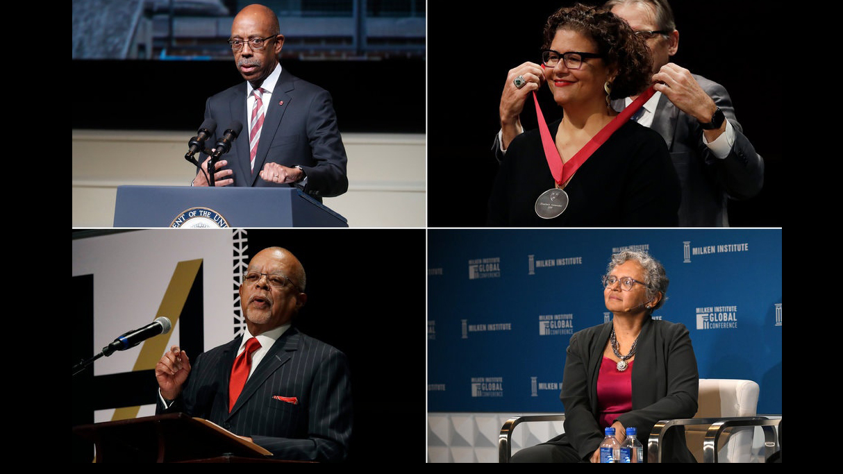 composite image of black scholars: Michael Drake, president of Ohio State University; Elizabeth Alexander, president of the Mellon Foundation; Cecilia Conrad, a managing director at the MacArthur Foundation; and Henry Louis Gates Jr., a professor at Harvard.Credit...John Minchillo/Associated Press