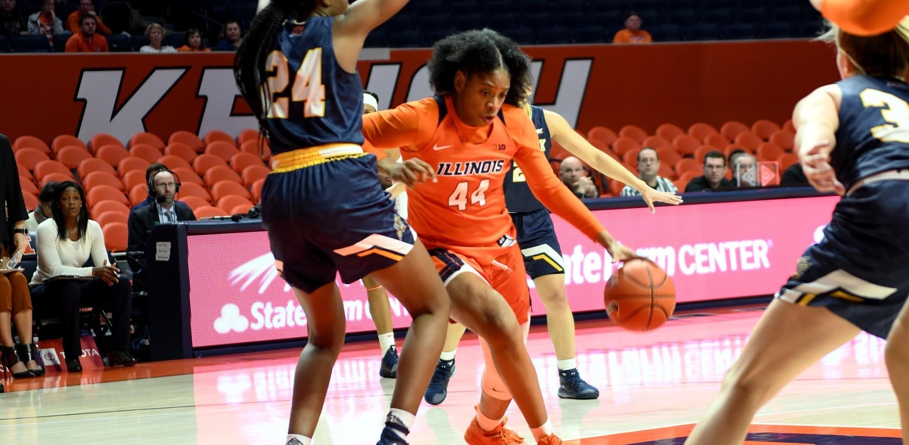 Freshman forward Kennedi Myles drives in the paint