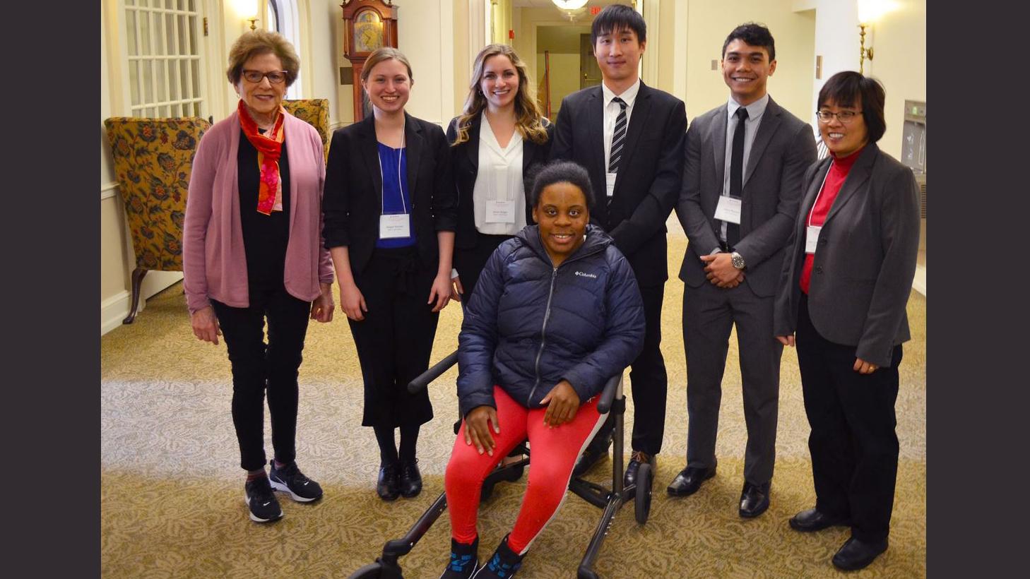 Front: Jasmine Brown. Back (from left): Diane Gottheil, Abigail Steimel, Jamie Sergay, Sung Jae Hwang, Adam Rosales, and Professor Elizabeth Hsiao-Wecksler.