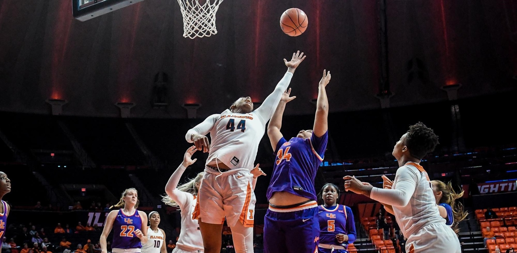 Kennedi Myles jumps and reaches for one of her 20 rebounds