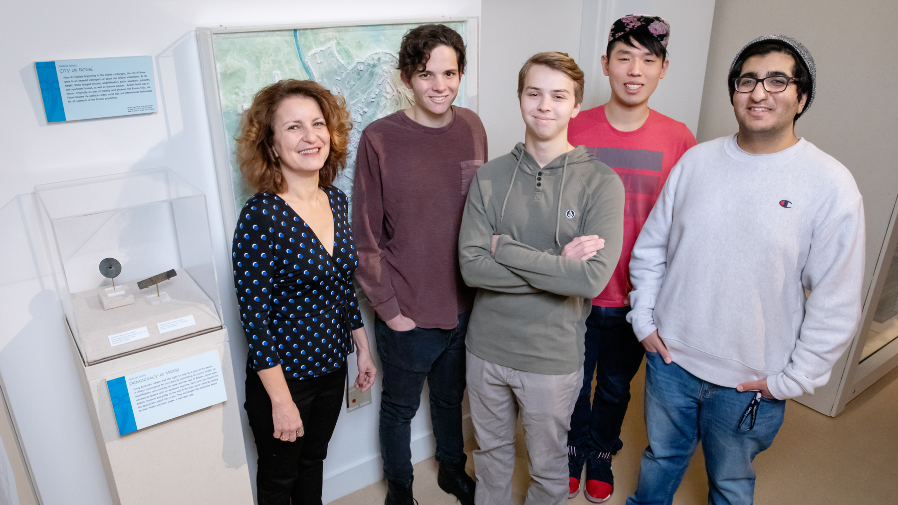 Classics professor Angeliki Tzanetou and students Oscar Serlin, Max Serlin, Vincent Kim and Hamza Lodhia. Photo by Leslie B. Stauffer