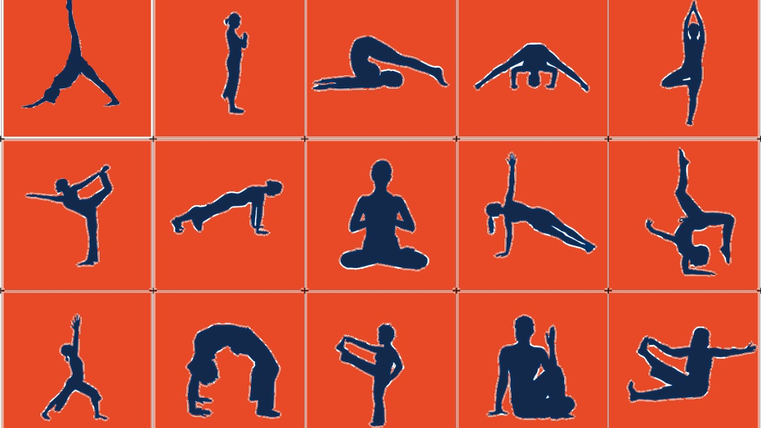 graphic image of various yoga poses.
