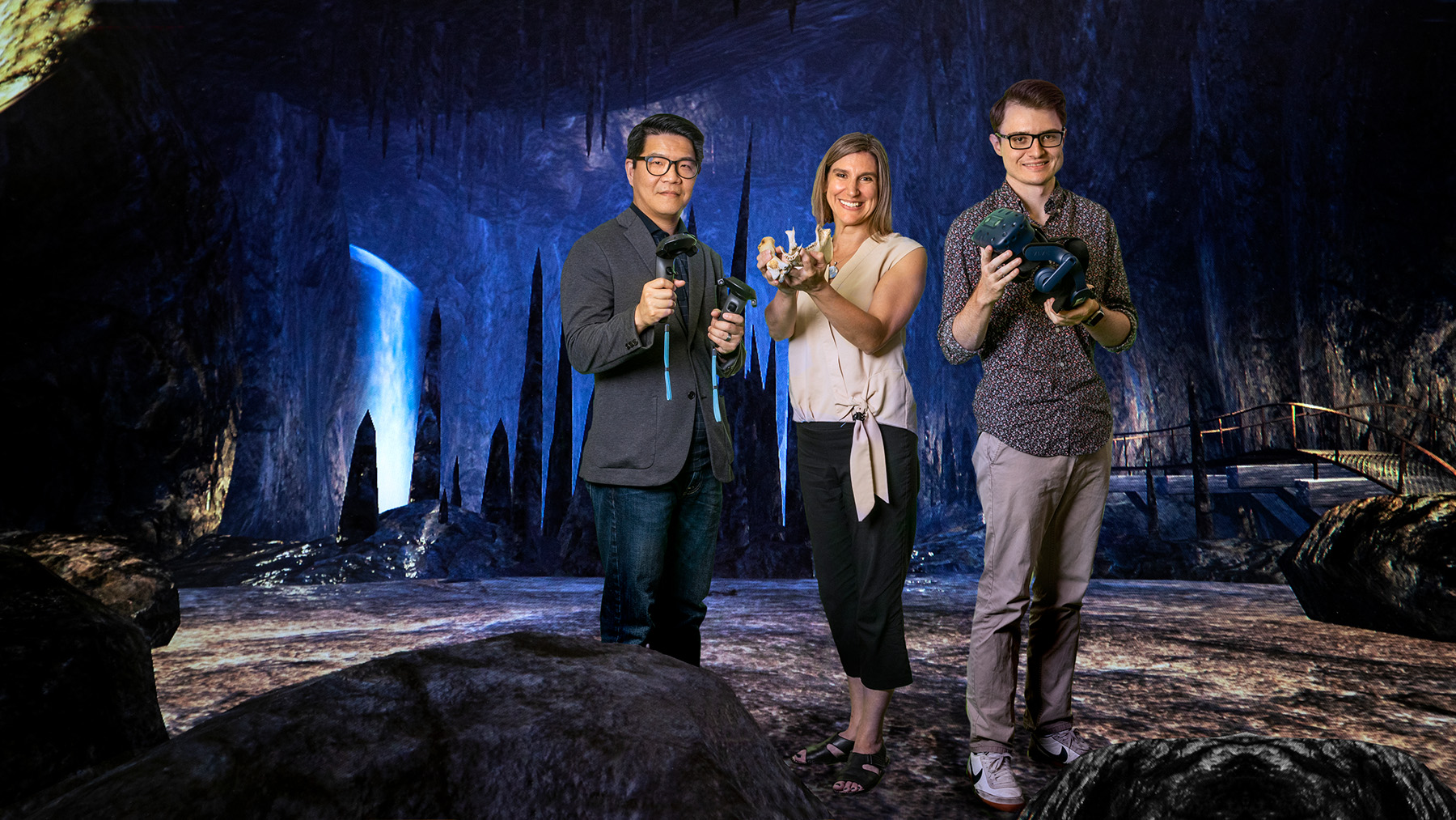 Anthropology professor Laura Shackelford; education professor David Huang; and graduate student Cameron Merrill have created Virtual Archaeology. Photos by Fred Zwicky