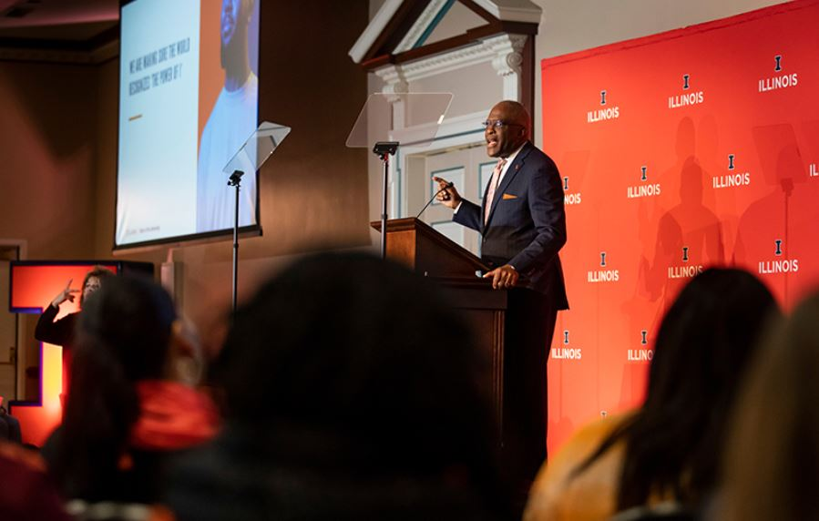 Chancellor Robert Jones delivers his State of the University address on January 24, 2020.