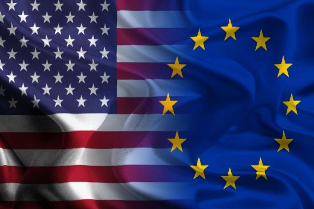 E.U. and U.S. flags