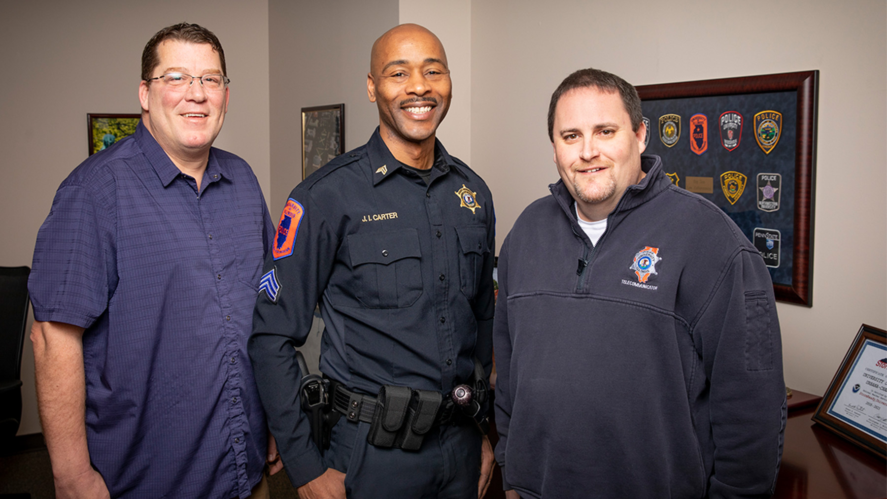 Det. Eric Stiverson, Sgt. James Carter and telecommunicator Kenny Costa. Photo by Fred Zwicky