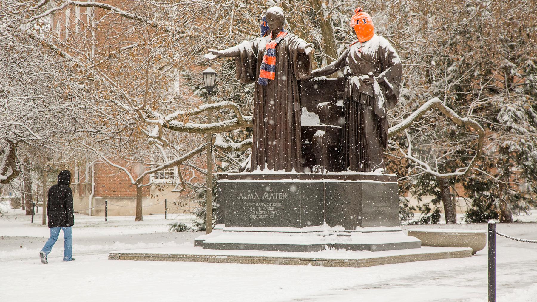 Alma Mater statue in show. Photo by L. Brian Stauffer