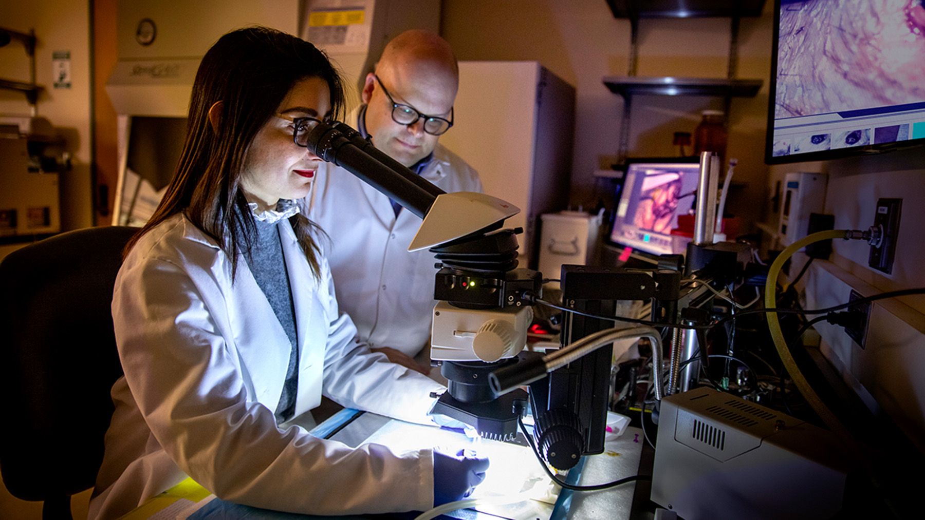 Illinois researchers used a suite of imaging methods to create the first holistic picture of peripheral artery disease recovery. Pictured: postdoctoral researcher Jamila Hedhli and professor Wawrzyniec Dobrucki.  Photo by Fred Zwicky