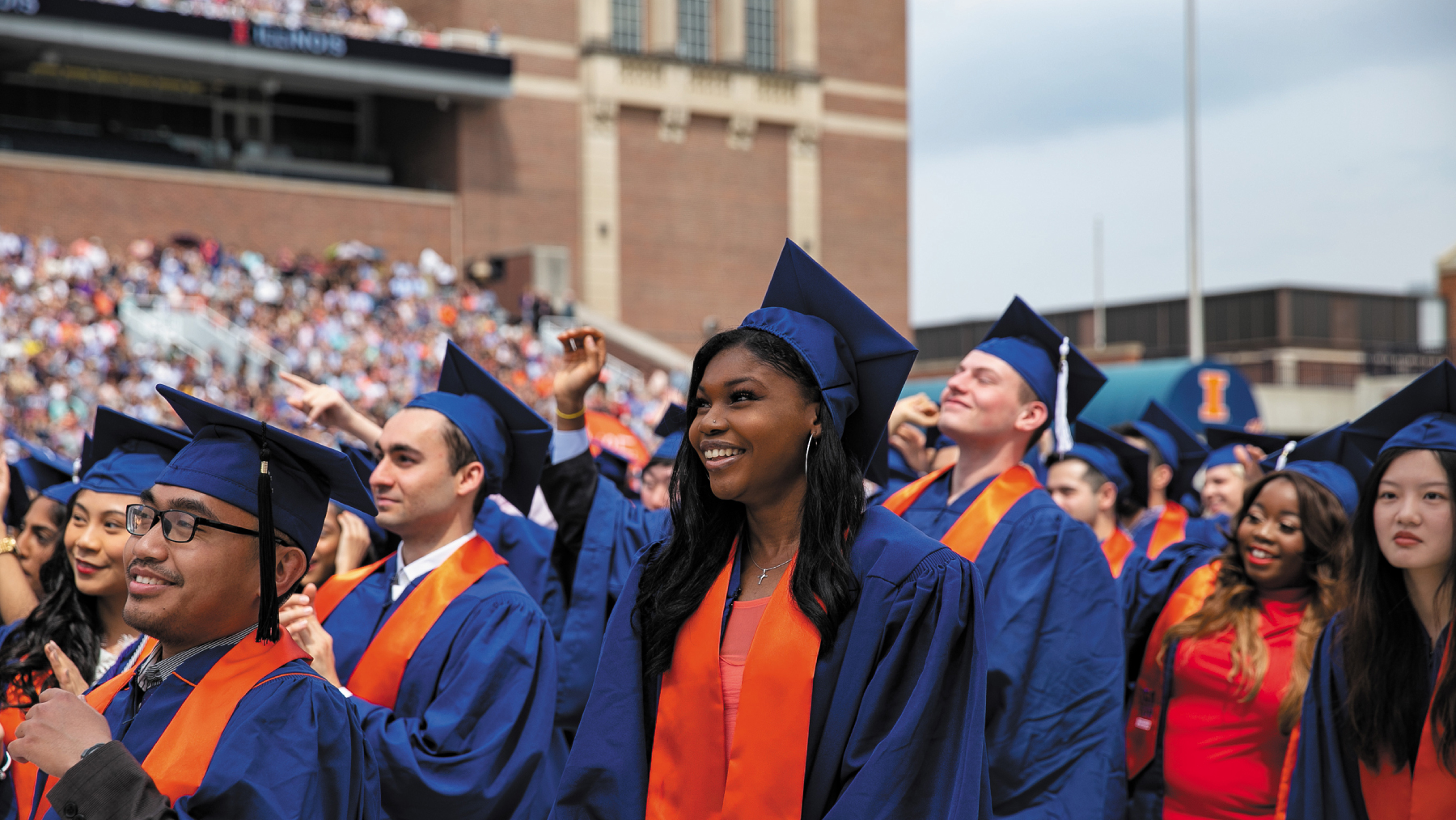 Illinois graduates in caps and gowns at 2019 Commencement. Photo by Jamie Hendrick