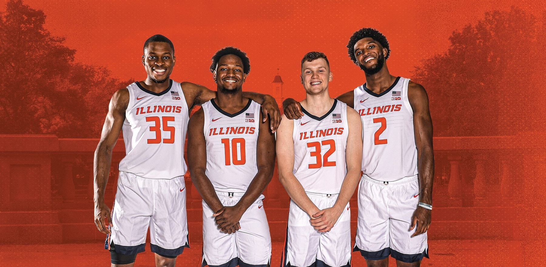 graphic of the four senior men's basketball players with Main Quad backdrop