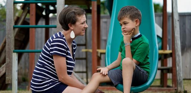 Rachel Scott talks to her son, Braden. David J Phillip/AP Images