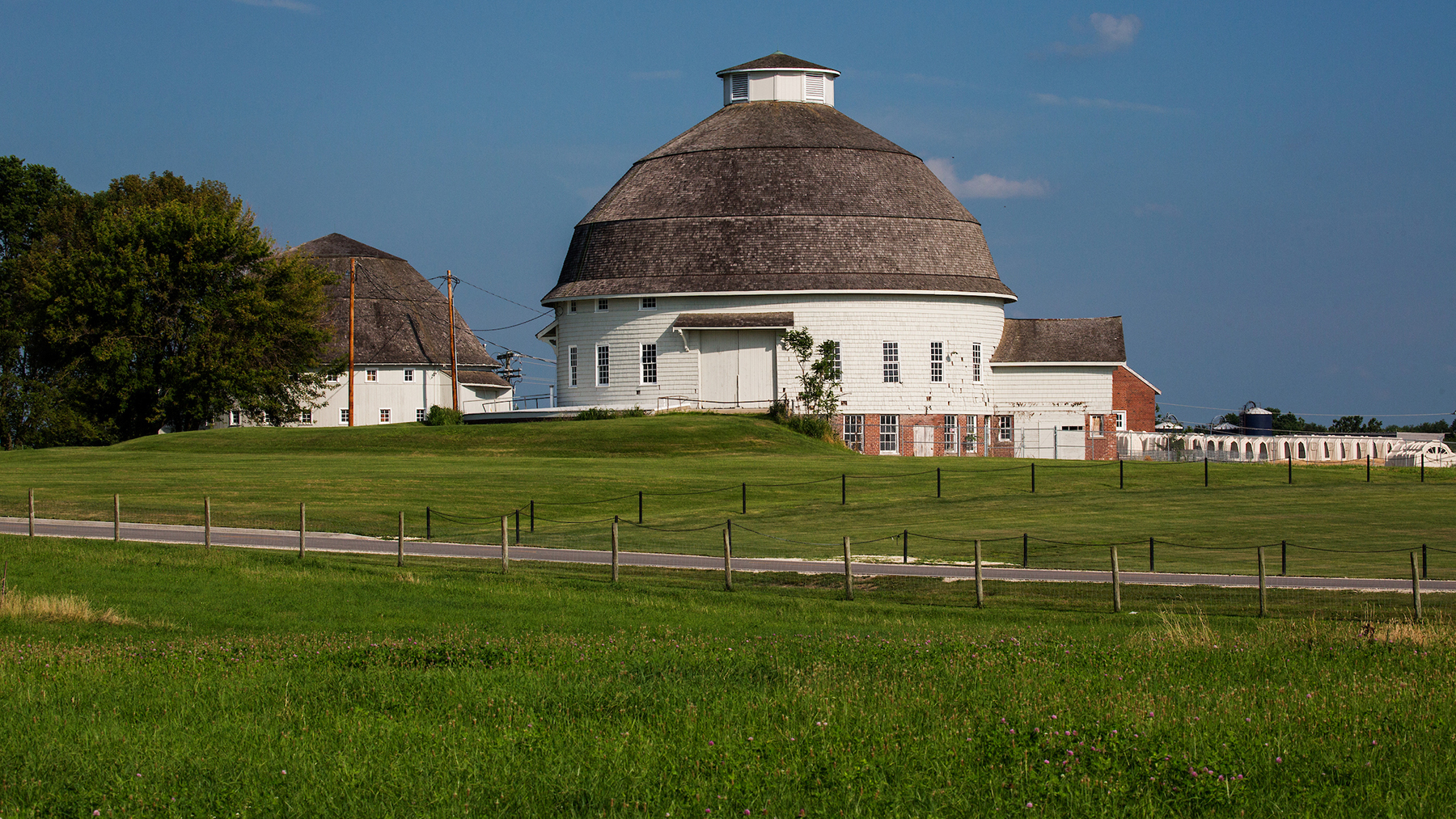 historic round barns on the South Farms area of campus