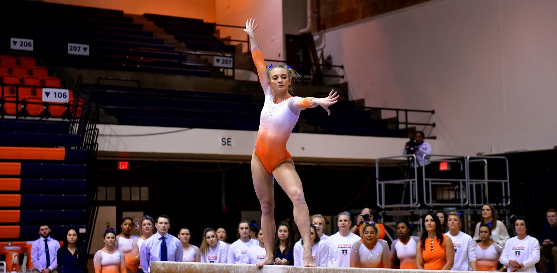gymnast Brittany Jones strikes a pose during her routine