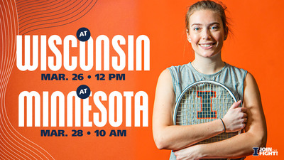 promotional graphic for Women's Tennis games on March 26 & 28