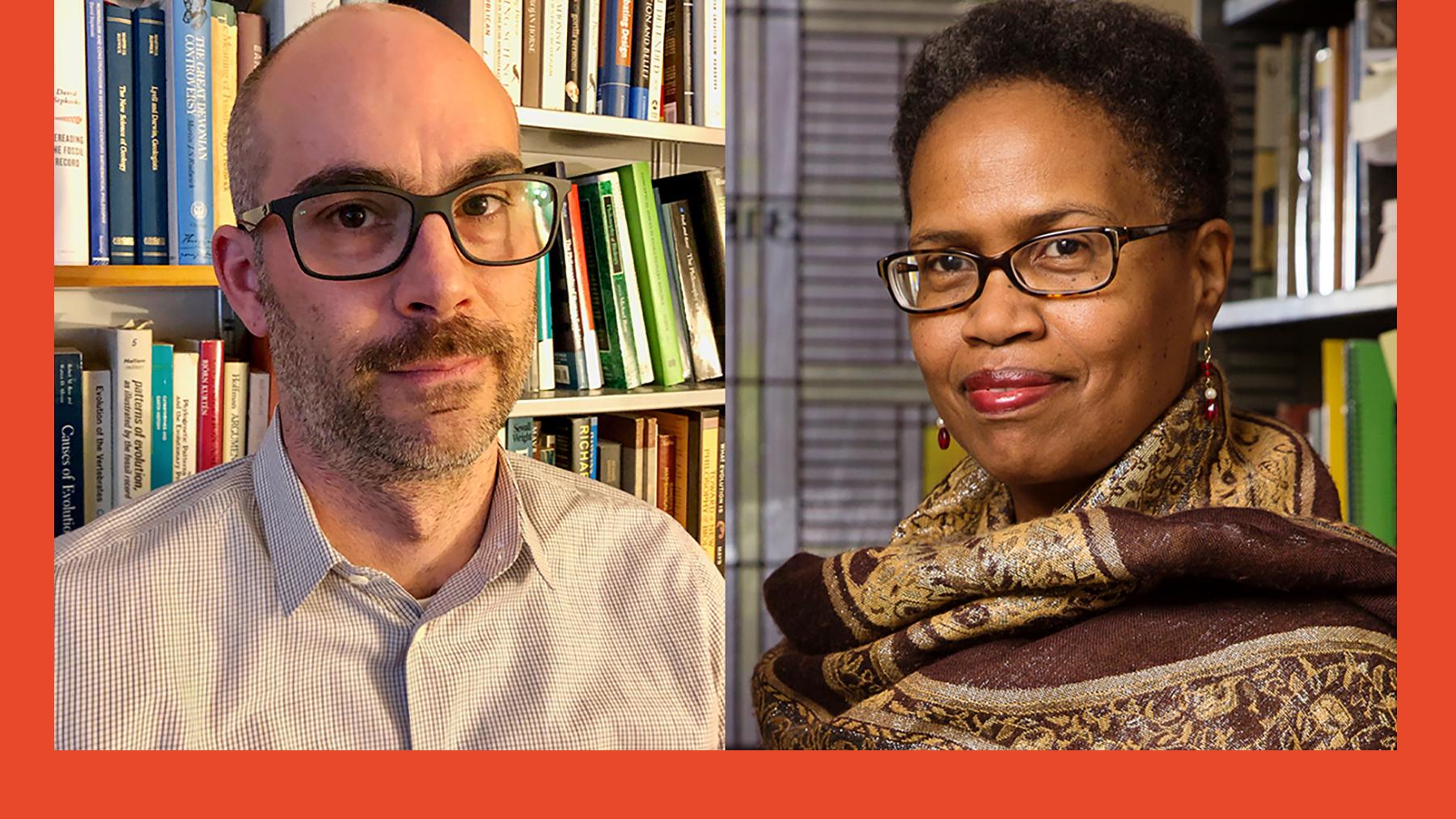 2020 Guggenheim Fellows David Sepkoski and Janice N. Harrington. (Sepkoski photo by Teri Chettiar, Harrington photo by L. B. Stauffer)