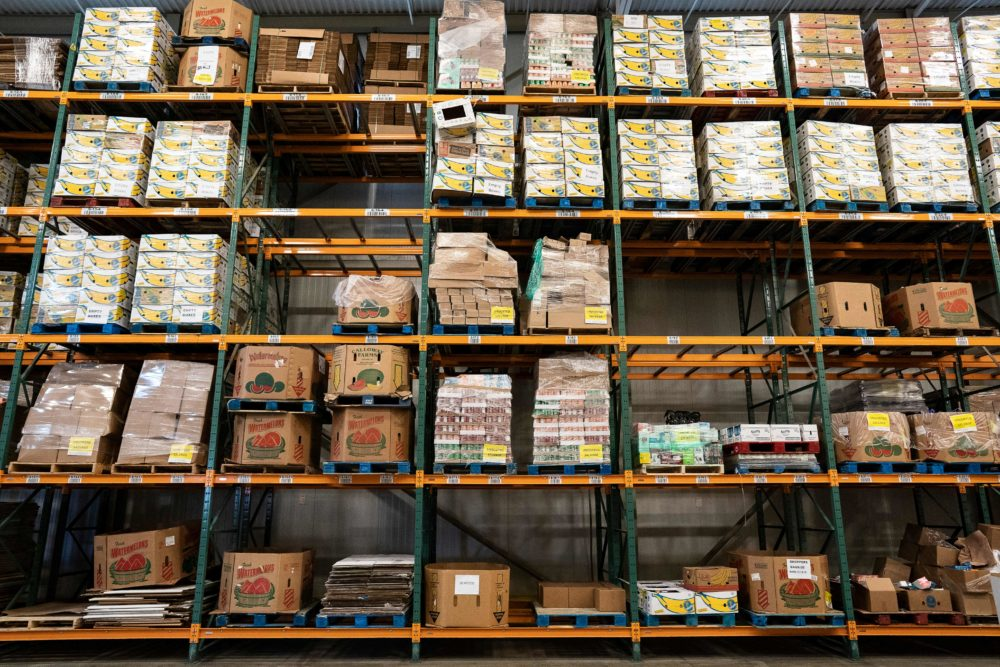 food bank shelves. Photo via Getty Images