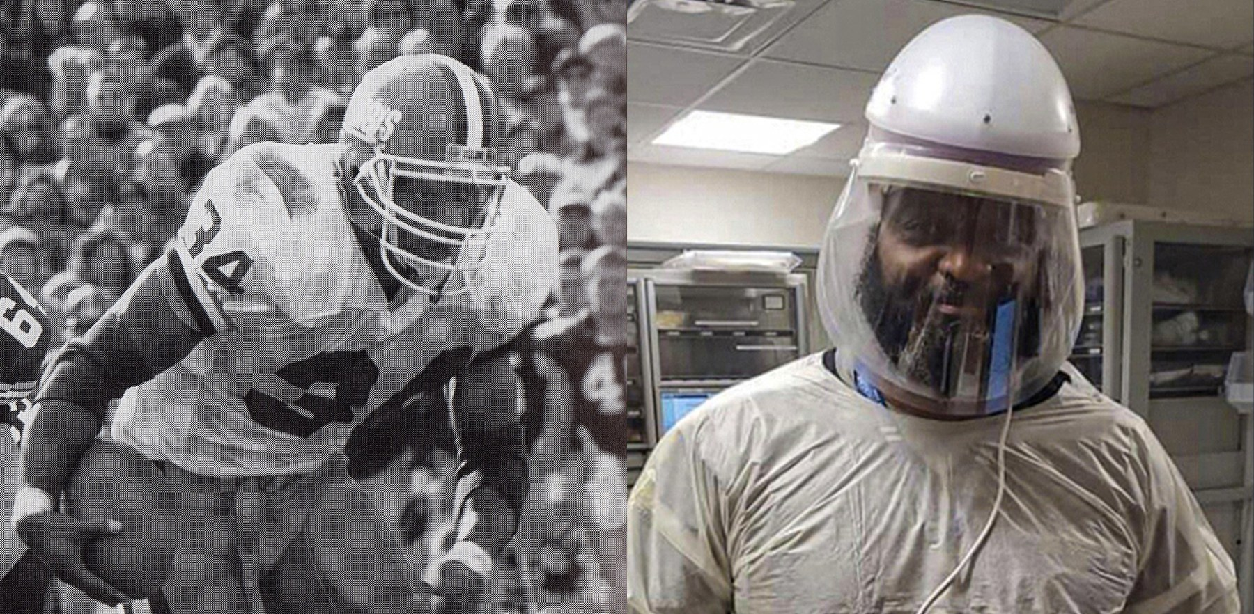 side-by-side images of Kameno Bell in football gear and in full PPE as an emergency room doctor