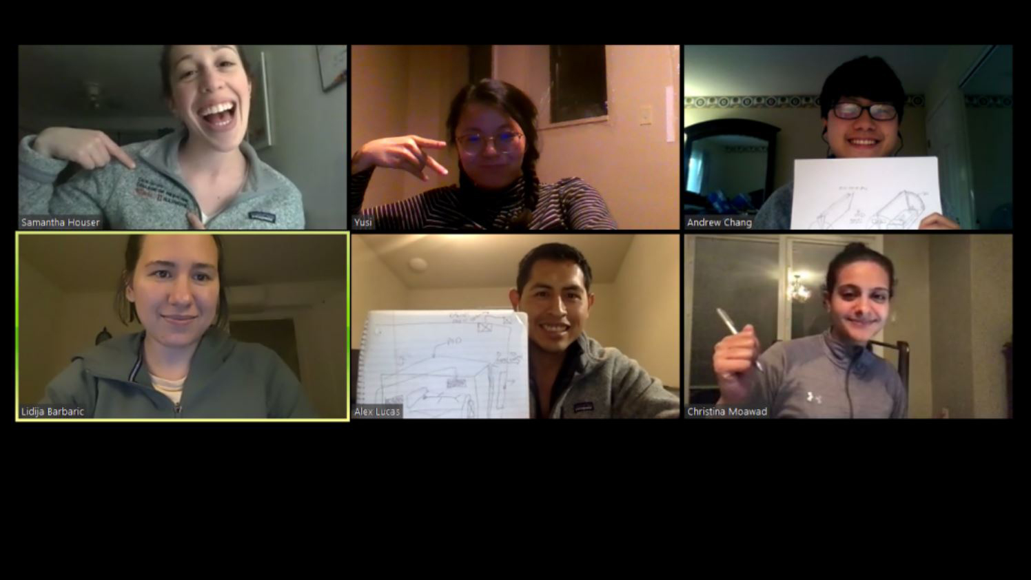 screen image from Zoom meeting shows eight Carle Illinois College of Medicine students