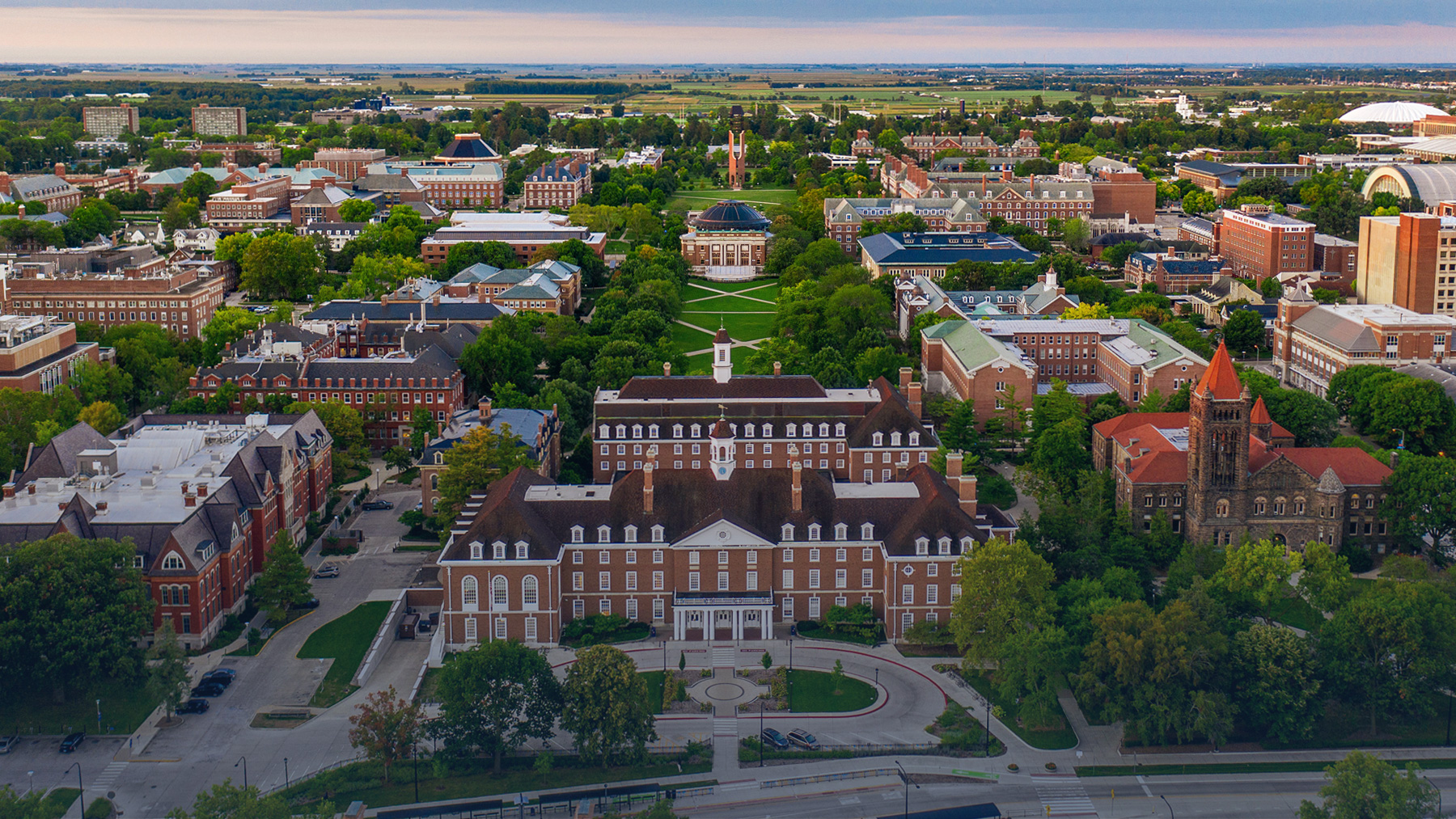 aerial view of the Main Quad looking south