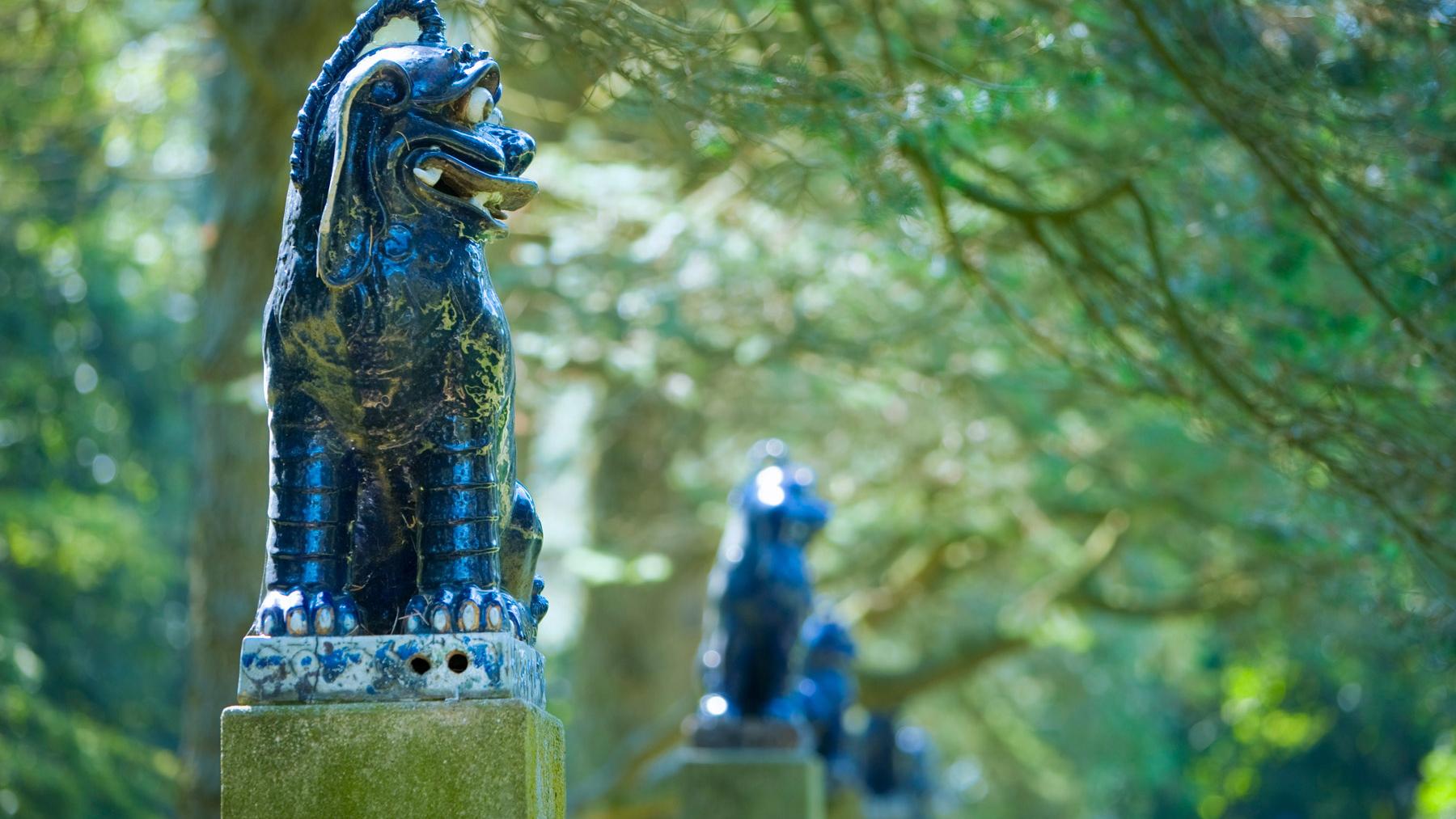 Fudog sculptures at the U of I's Allerton Park