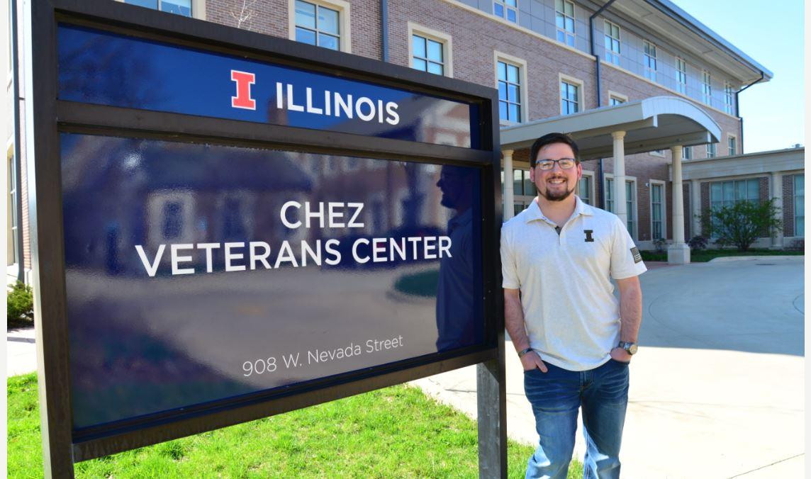 Erick Klein outside the Chez Veterans Center at Illinois
