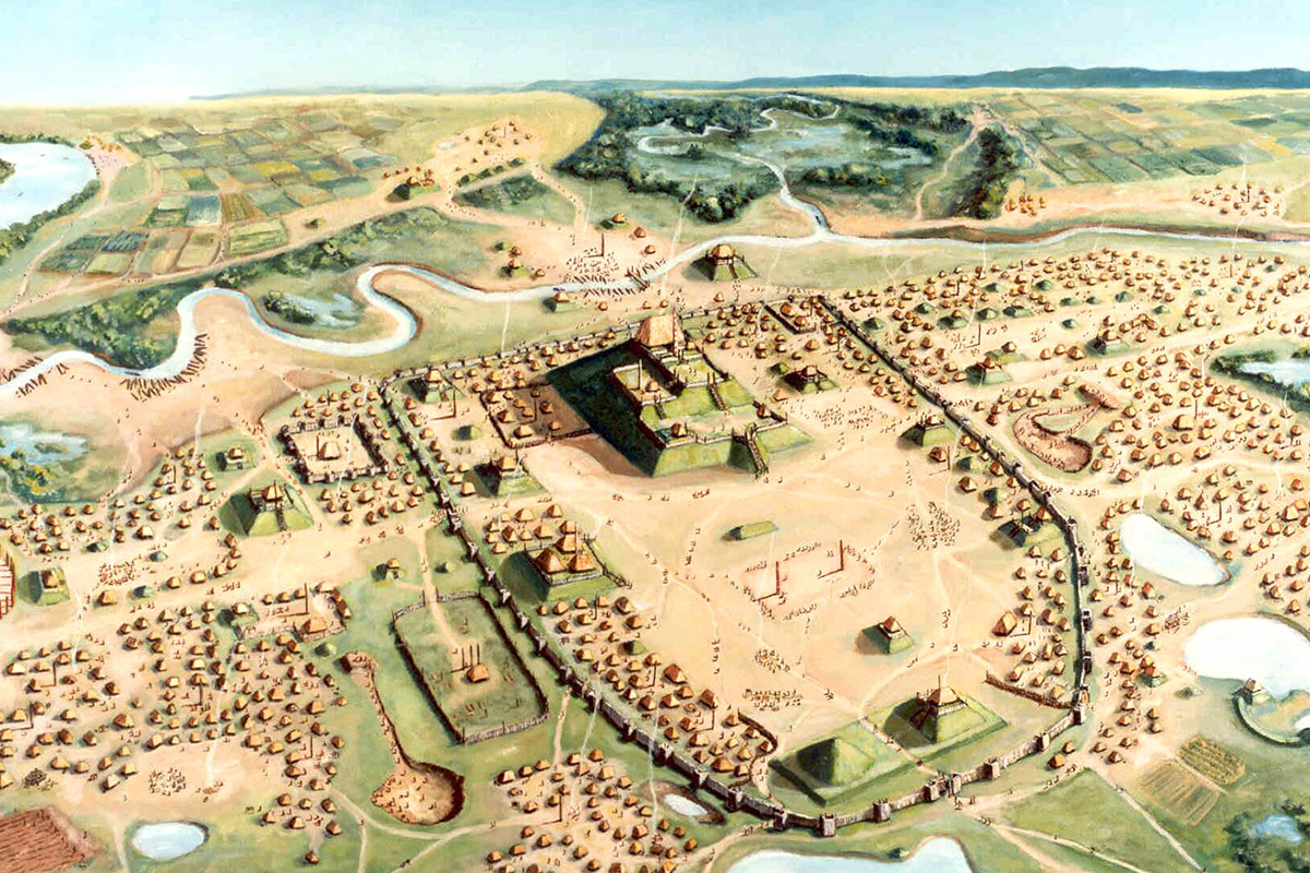 Cahokia. Image courtesy Cahokia Mounds State Historic Site, painting by William R. Iseminger.