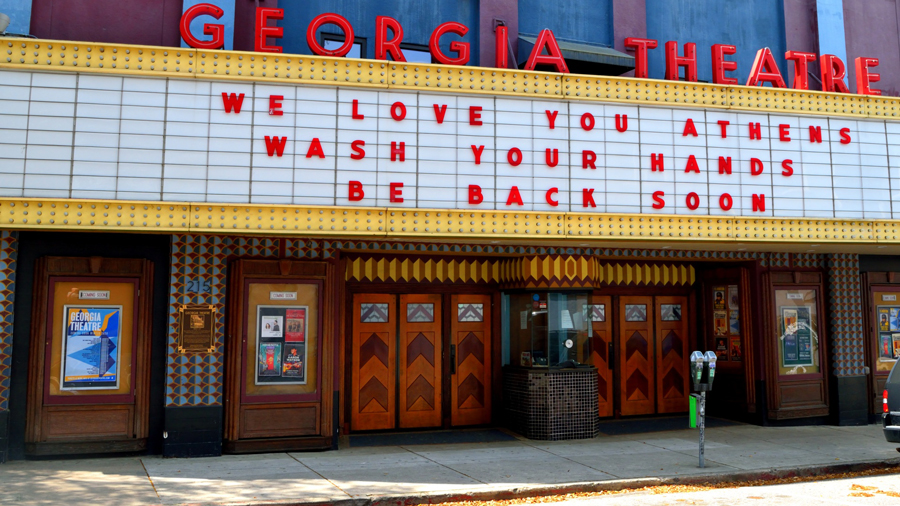 Sign for the Georgia Theater in Athens, GA. Public domain photo.