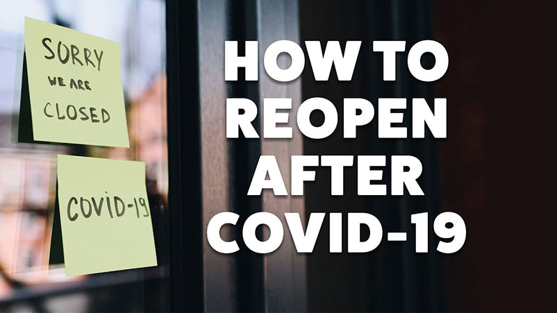 """sign on shop door stating closure due to pandemic with text """"how to reopen after COVID-19"""""""