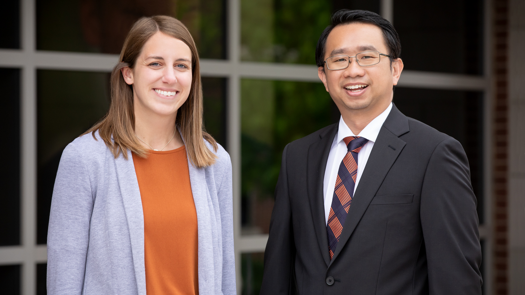 social work professor Kevin Tan and alumna Jenna White.  Photo by L. Brian Stauffer