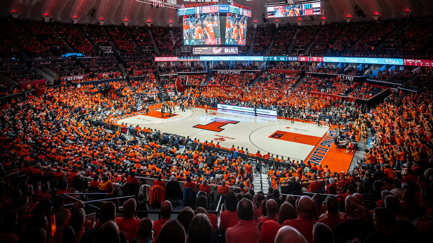 wide view of a packed State Farm Center