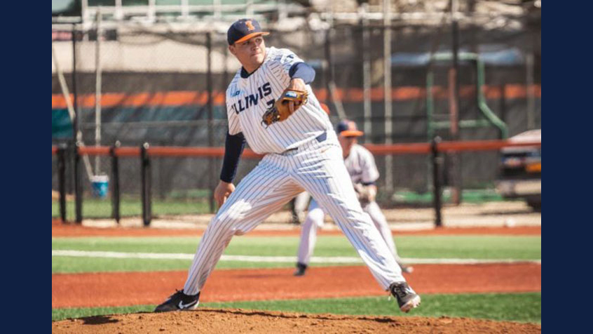 Ty Weber on the pitcher's mound for the Fighting Illini