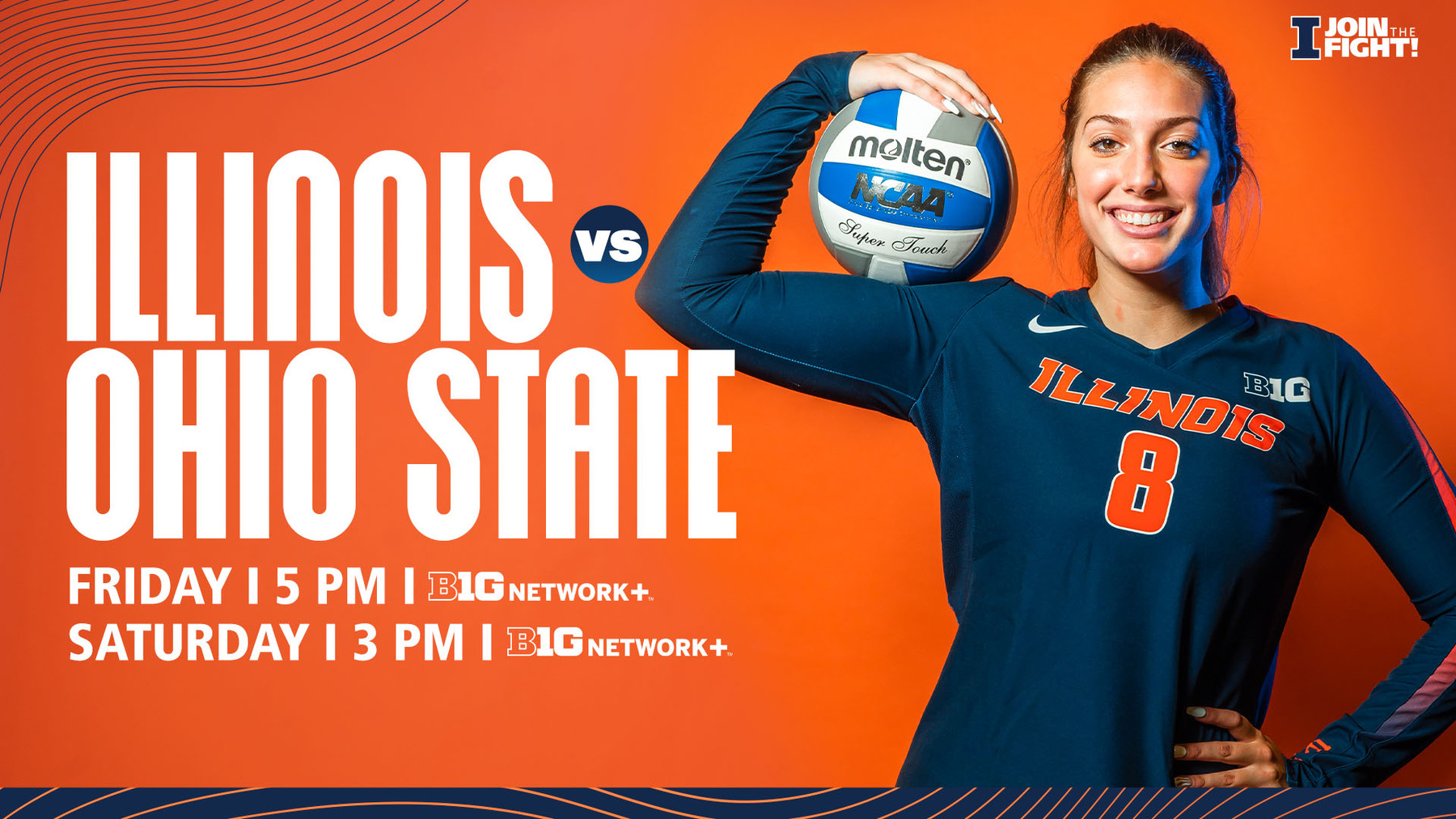 graphic promoting weekend volleyball games featuring freshman Maddie Whittington