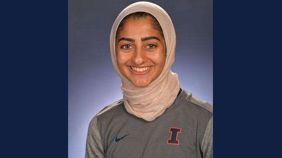 U. of I. senior track and cross country athlete Ayah Aldadah