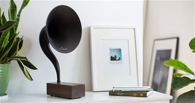 The Bluetooth Gramophone 2.0 speaker shown in publicity photo. Photo courtesy Gramovox LLC