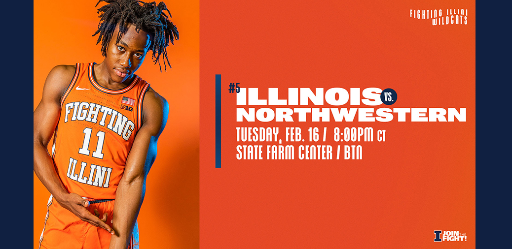 Ayo Dosunmu promtional image used in graphic promoting the Feb. 16, 2021, game