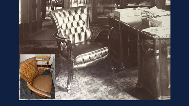 With help from an archival photo, an architect determined that an existing chair (lower left) in a professor's office in Altgeld Hall is an original from the office of former U of I President Andrew Draper, who worked there from 1897-1904. (Photos courtesy of Bailey Edward.)