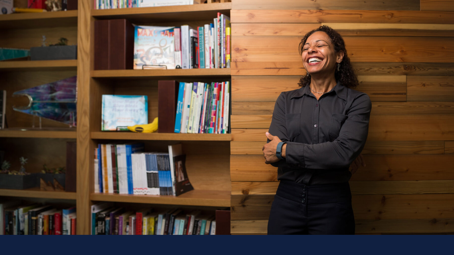 Professor Nadya Mason laughing. Photo by Andrew Bird