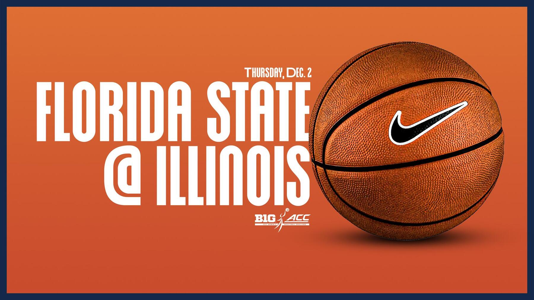 graphic announcing Florida State at Illinois game features image of a basketball