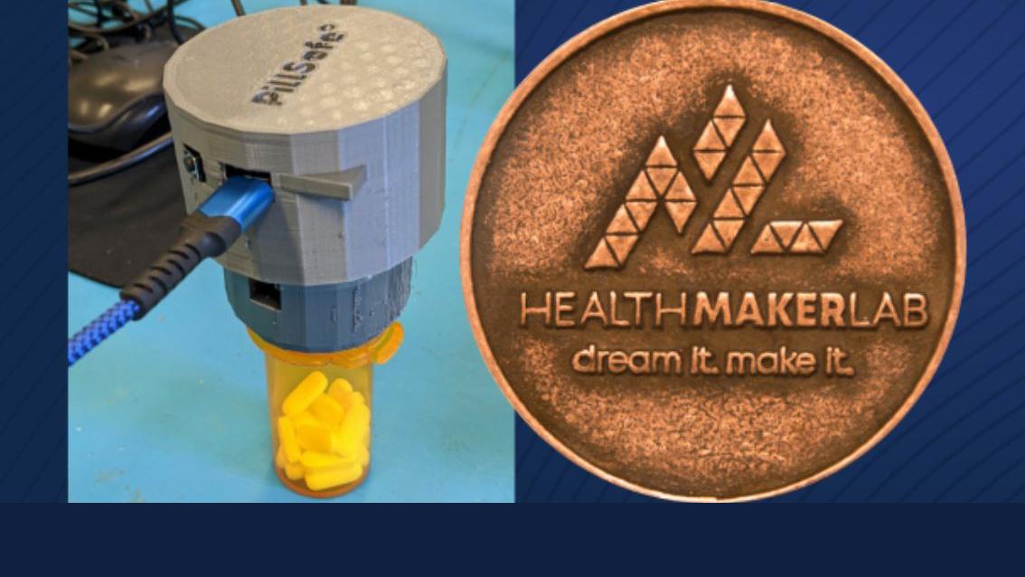 student's pillsafe prototype beside Health Make-a-Thon winner's medallion