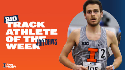 image of Jon Davis running with graphic congratulating him on Athlete of the Week honors