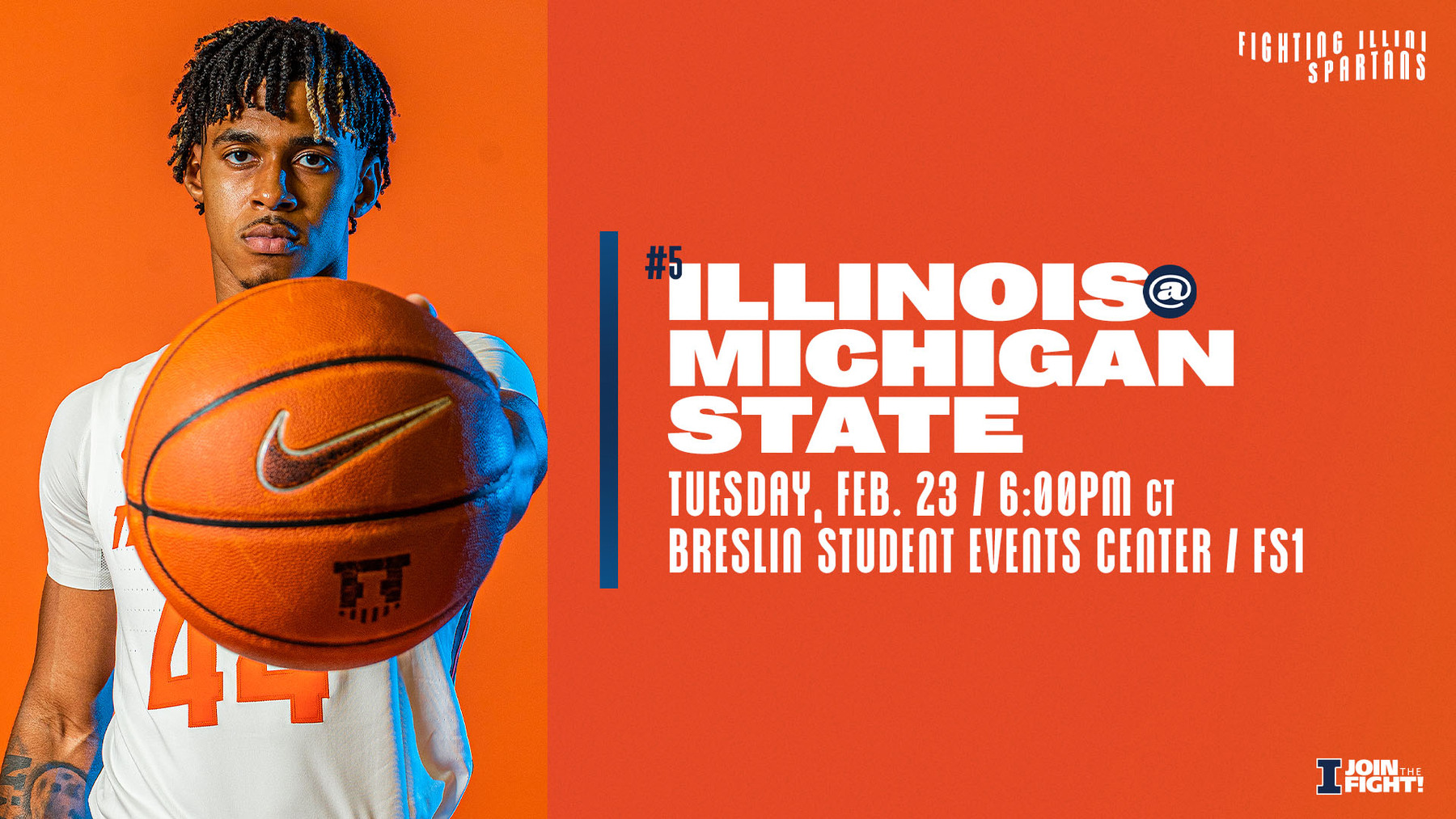 Freshman Adam Miller featured in graphic promoting Illinois vs Michigan State game on 2/23/2021