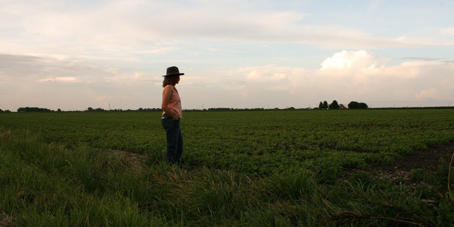 woman stands alone looking out at soybean field