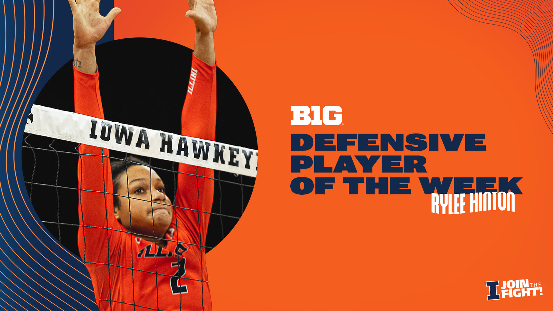 image of Rylee Hinton defending at the net used in graphic announcing her Player of the Week honor