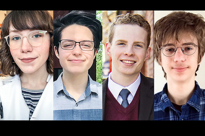 Graphic combining the portraits of the four Illinois students awarded Barry M. Goldwater scholarships