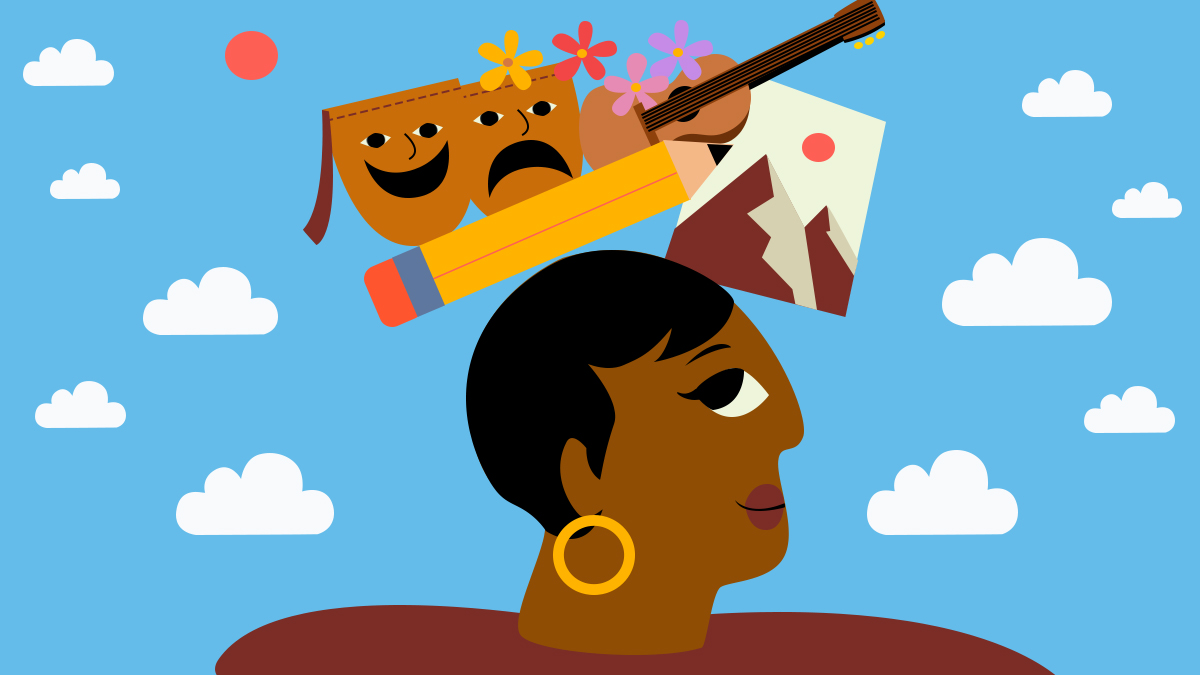 Illustration of a woman with a pencil, guitar, mountains and other thoughts above her head.